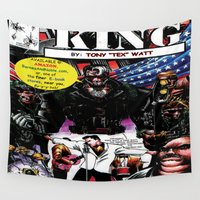 "returns Wall Tapestries featuring ""Code Name: King""  - Comic Book Promo Poster  by Tex Watt"