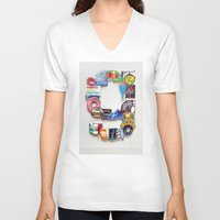 letter V-neck T-shirts featuring Letter G by Vertigo Art