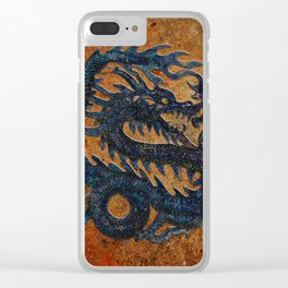 Blue Chinese Dragon on Stone Background Clear iPhone Case
