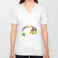 plaid V-neck T-shirts featuring PLAID DIGGER by Bones and Balloons