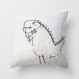 The dinosaur ate his owner Throw Pillow