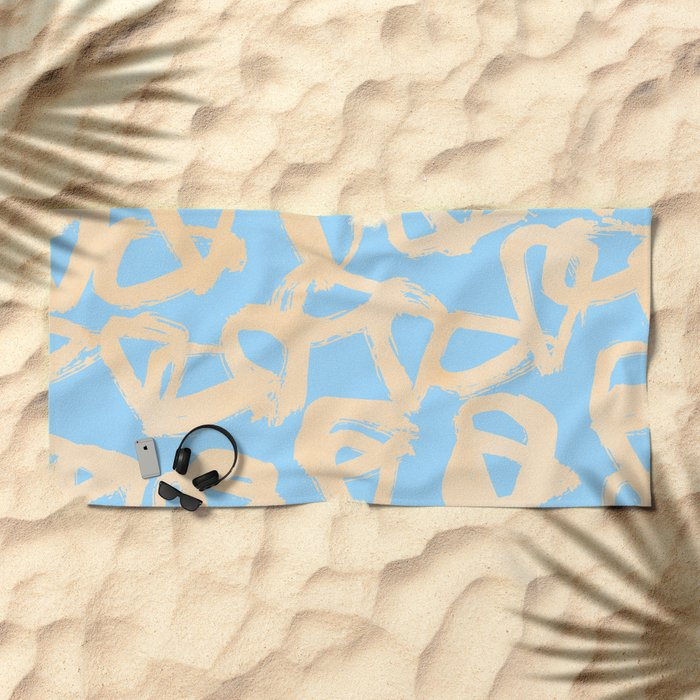 Sweet Life Triangle Dots Orange Sherbet + Blue Raspberry Beach Towel