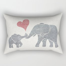 Elephant Hugs with Heart in Muted Gray and Red Rectangular Pillow