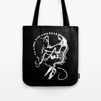 bouletcorp Tote Bags featuring Deinonychus by Bouletcorp