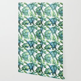 Blue Jungle Leaves, Monstera, Palm #society6 Wallpaper