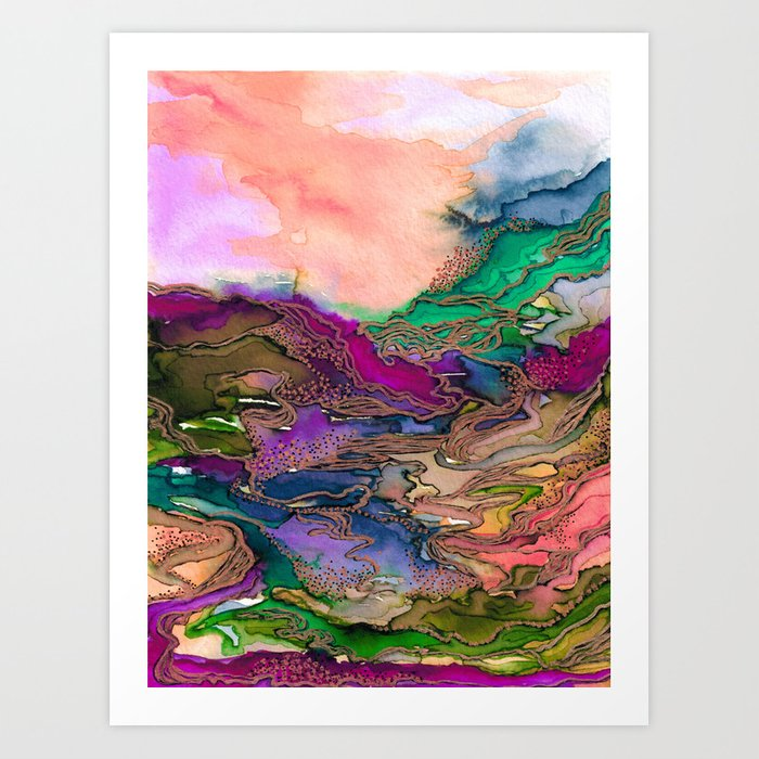 BRING ON BOHEMIA 1 Bold Rainbow Colorful Watercolor Abstract Metallic Accent Summer Peach Pink Green Art Print