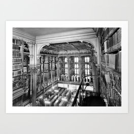 A Book Lover's Dream - Cast-iron Book Alcoves Cincinnati Library black and white photography Art Print