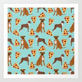 Boxer dog pattern pizza dog lover pet portraits boxers dog breed by pet friendly Art Print