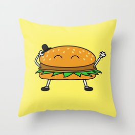 Burger with Hat Throw Pillow