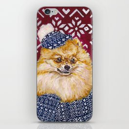 Pomeranian in a Hat and Scarf iPhone Skin