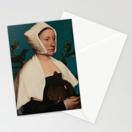 PORTRAIT OF A LADY WITH A SQUIRREL AND A STARLING - HANS HOLBEIN Stationery Cards