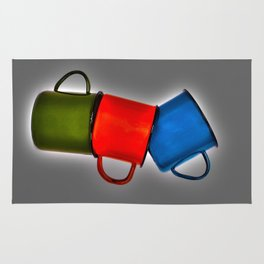 Vintage green, blue, red enamel mugs in modern look Rug