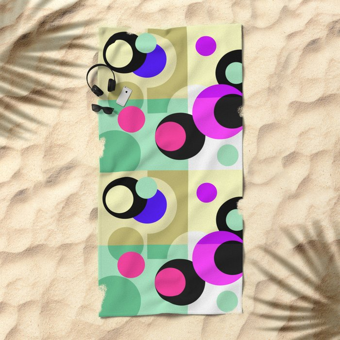 Colorful geometric pattern with polka dots . Beach Towel