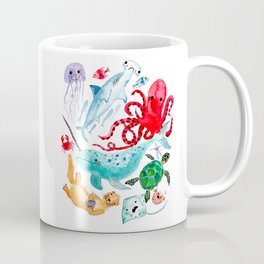 Ocean Creatures - Sea Animals Characters - Watercolor Coffee Mug