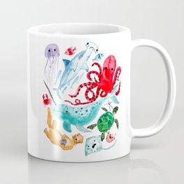 Ocean Creatures - Sea Animals Characters - Watercolor Coffee Mug