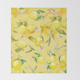 Watercolor lemons 5 Throw Blanket