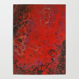 Acrylic Pour - Red Black Purple Gold Poster