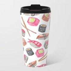 Cute Trendy Watercolor Sushi Sake and Chopsticks Metal Travel Mug