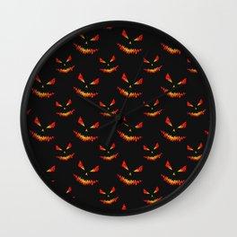 Sparkly Jack O'Lantern face Halloween pattern Wall Clock