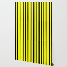 NEON YELLOW AND BLACK THIN AND THICK STRIPES Wallpaper