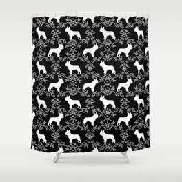 French Bulldog floral minimal black and white pet silhouette frenchie pattern Shower Curtain