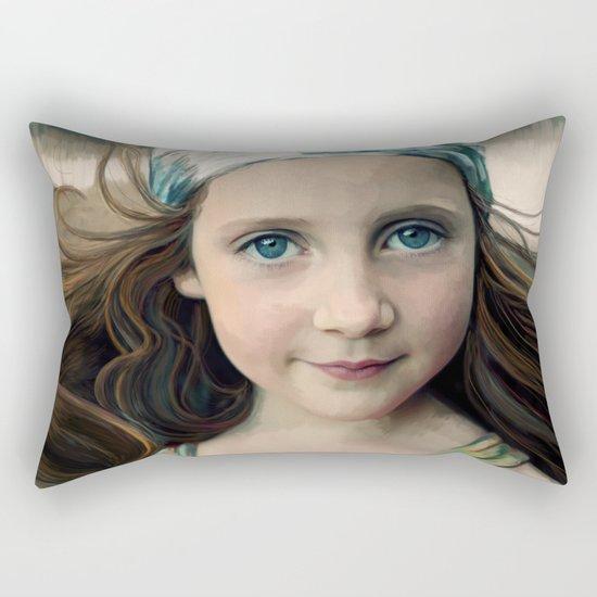 Dancer at Dusk - portrait painting of a young girl Rectangular Pillow