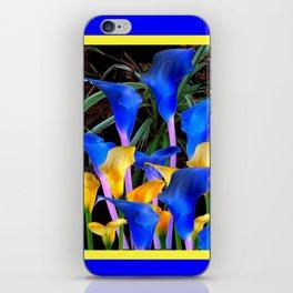 BLUE-BLACK MODERN ABSTRACT BLUE & GOLD CALLA LILIES iPhone Skin