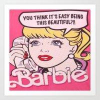 barbie Art Prints featuring Barbie by LuxuryLivingNYC