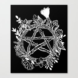 Pentacle Wreath Witchy Pagan Goth Canvas Print