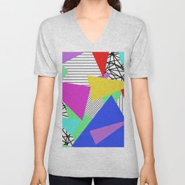 Bits And Pieces - Retro, random, abstract pattern Unisex V-Neck
