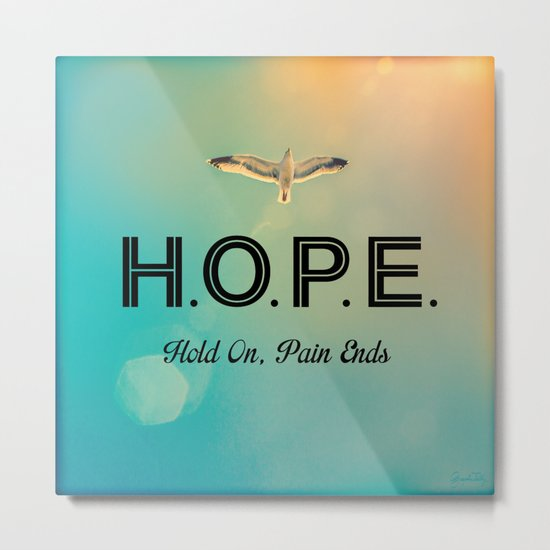 Always Have Hope (Seagull Flying in Teal Sky) Metal Print