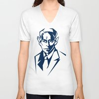 kafka V-neck T-shirts featuring Kafka portrait in Navy Blue & Pastel Green by aygeartist