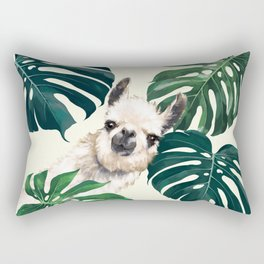 Sneaky Llama with Monstera Rectangular Pillow