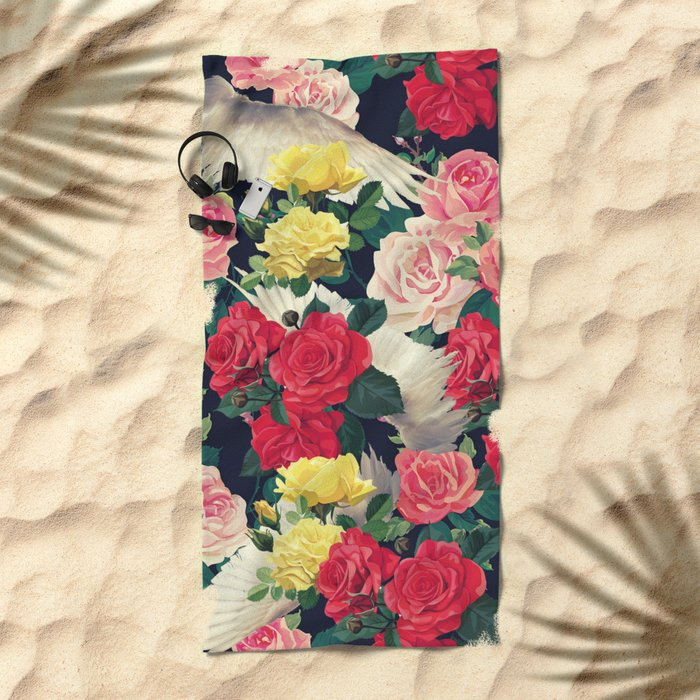 roses wings, tropical  Beach Towel
