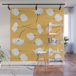 Poppies on mustard Wall Mural