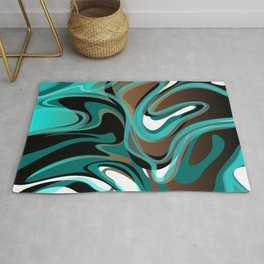 Liquify - Brown, Turquoise, Teal, Black, White Rug