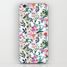 Pink purple green white watercolor bohemian feathers floral iPhone Skin