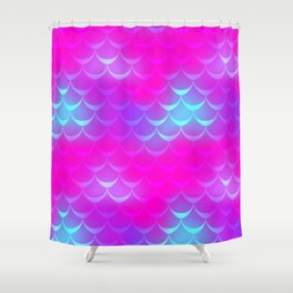 Pink and Blue Mermaid Tail Abstraction. Magic Fish Scale Pattern Shower Curtain