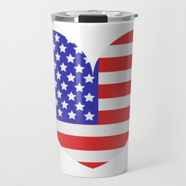united states flag with heart Travel Mug