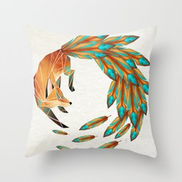 fox circle Throw Pillow