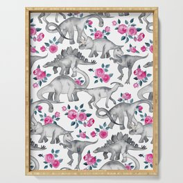 Dinosaurs and Roses - white Serving Tray