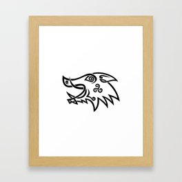 Boar Head Celtic Knot Black and White Stencil Framed Art Print