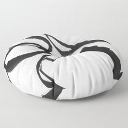 Minimalist Abstract Black Ink Painting Rings 2 Floor Pillow
