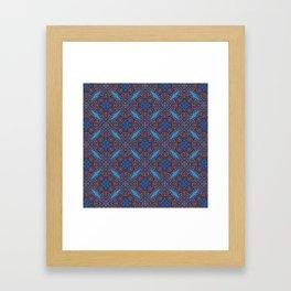 Gorgeous Blue and Orange Beadwork Inspired Print Framed Art Print