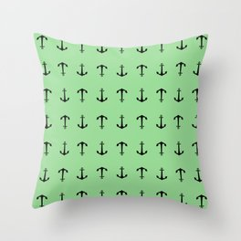 Anchors Away - Black anchors pattern on pastel green Throw Pillow