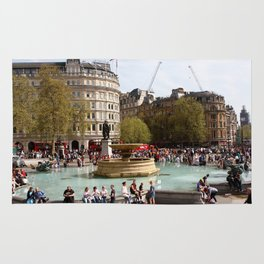 Water Fountain In Trafalgar Square, London Rug