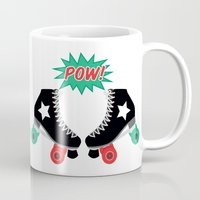 roller derby Mugs featuring Roller Derby POW! by Otterly Design