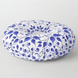 Pattern of blue leaves Floor Pillow