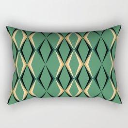 Art Deco Green & Gold Rectangular Pillow
