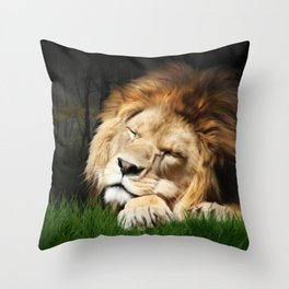 Sleeping Lion Throw Pillow
